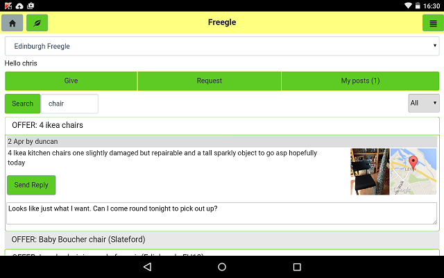 Screenshot of the Freegle app on Nexus Android